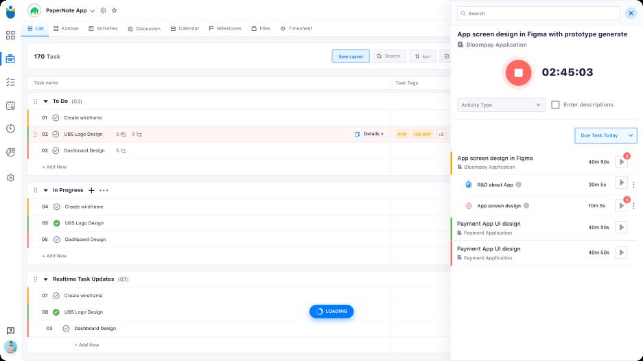 Track task timings and log book