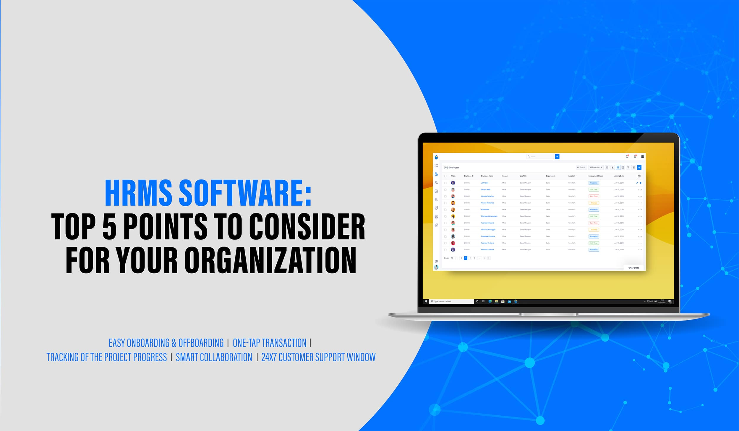 Organizations supportive HRMS software